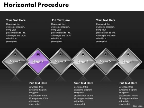 Ppt Purple Diamond Horizontal Procedure 6 Steps PowerPoint Templates