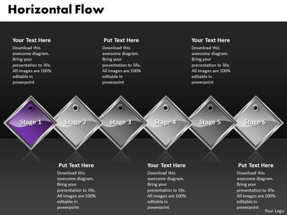 Ppt Purple Diamond Horizontal Process 6 PowerPoint Slide Numbers 2 Templates
