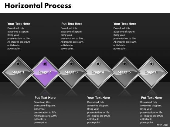 Ppt Purple Diamond Horizontal Process 6 State Diagram PowerPoint Templates