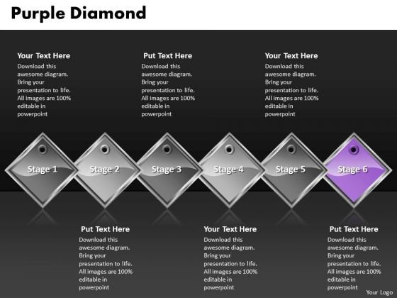 Ppt Purple Diamond Horizontal Process 6 Steps PowerPoint Templates