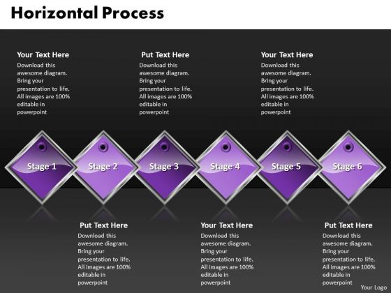 Ppt Purple Diamond Horizontal Process 6 Steps Working With Slide Numbers PowerPoint Templates