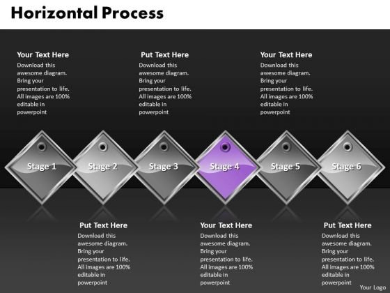 Ppt Purple Diamond Horizontal Process Six Practice The PowerPoint Macro Steps Templates