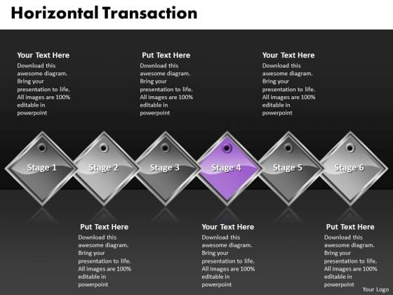 Ppt Purple Diamond Horizontal Transaction 6 Practice The PowerPoint Macro Steps Templates