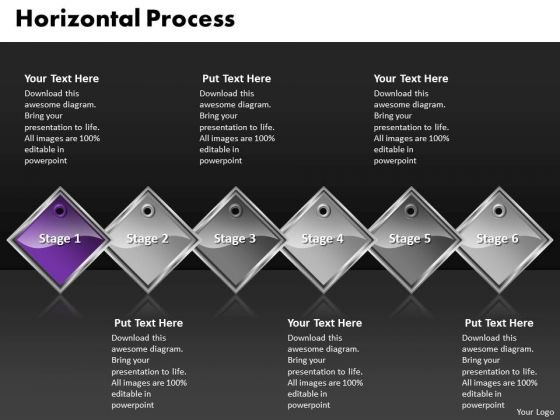 Ppt Purple Diamond Linear Process 6 PowerPoint Slide Numbers Templates