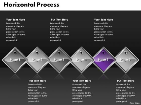 Ppt Purple Diamond Staright Process 6 PowerPoint Slide Numbers Templates