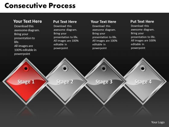 Ppt Red Diamond Consecutive Action 4 Create PowerPoint Macro Templates