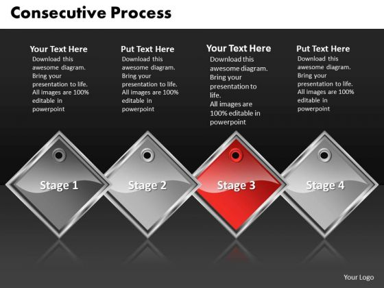 Ppt Red Diamond Consecutive Opreation 4 Steps PowerPoint Templates