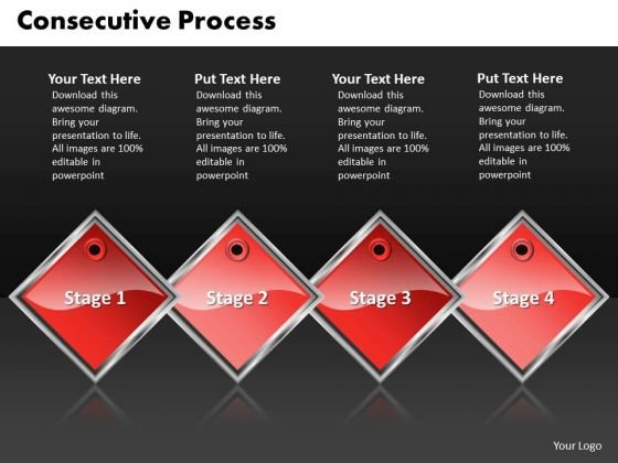 Ppt Red Diamond Consecutive Process 4 Steps Working With Slide Numbers PowerPoint Templates