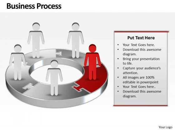 Ppt Red Men Standing On Business PowerPoint Theme Pie Chart Templates