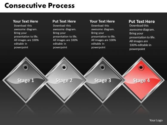 Ppt Red PowerPoint Background Diamond Consecutive Process Four Steps Templates
