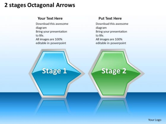 Ppt Regular Demonstration Of Octagonal 3d Arrows PowerPoint 2 Phase Diagram Templates