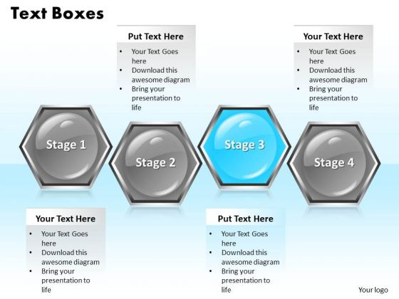 Ppt Regular Hexagon Shaped Text Boxes PowerPoint Background 4 Stages Templates