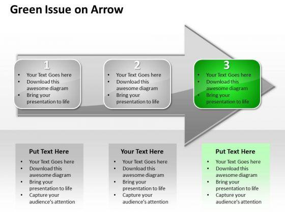 Ppt Regular Representation Of 3 Issues An Arrow Green PowerPoint Templates