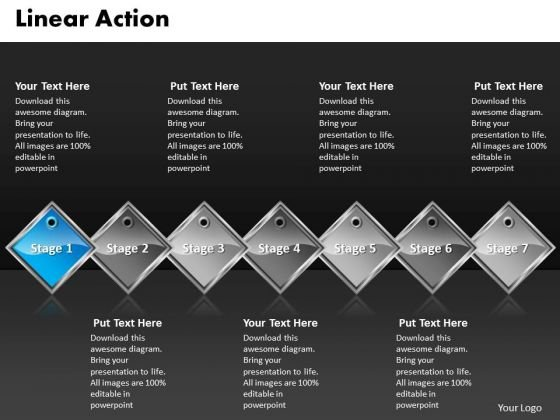 Ppt Royal Blue PowerPoint Background Diamond Linear Action 7 Stages Templates