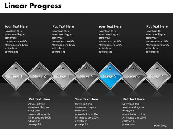 Ppt Royal Blue PowerPoint Background Diamond Linear Progress 7 Stages Templates