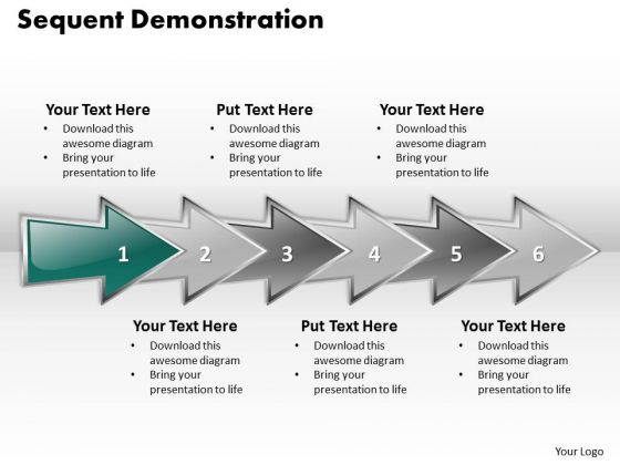 Ppt Sequent Demonstration Using Arrows Six Steps PowerPoint Templates