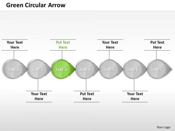 Ppt Sequential Circular 3d Arrows PowerPoint Straight Line 7 Stages Green Templates