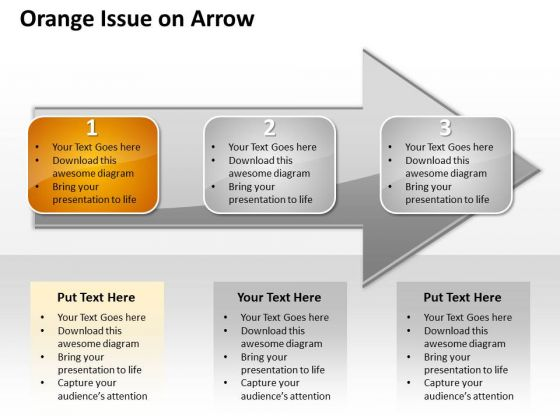 Ppt Sequential Demonstration Of 3 Issues An Arrow Orange PowerPoint Templates