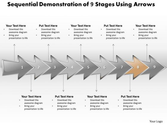Ppt Sequential Description Of 9 Stages Using Shapes Arrows PowerPoint Templates
