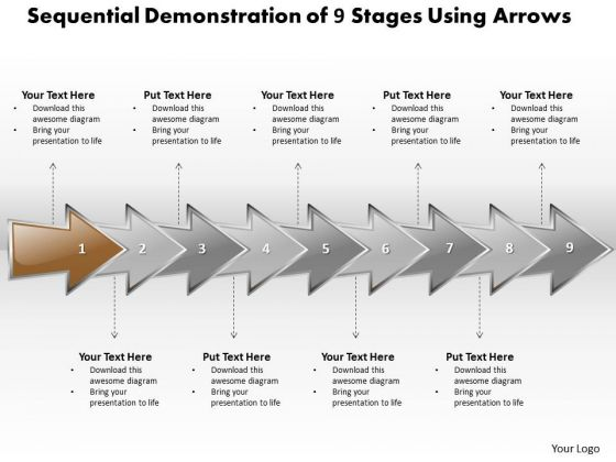 Ppt Sequential Evaluation Of 9 Stages Using Curved Arrows PowerPoint 2010 Templates