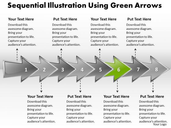 Ppt Sequential Explanation Using Arrows PowerPoint 2010 Templates