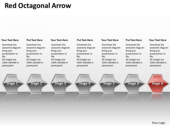 Ppt Sequential Flow Of Red Octagonal Arrow Stage 7 PowerPoint Templates