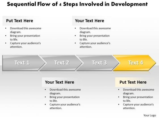 Ppt Sequential Flow PowerPoint Theme Of 4 Steps Involved Development Templates