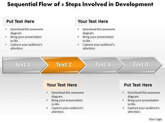 Ppt Sequential Outflow Of 4 Steps Involved Development PowerPoint Templates