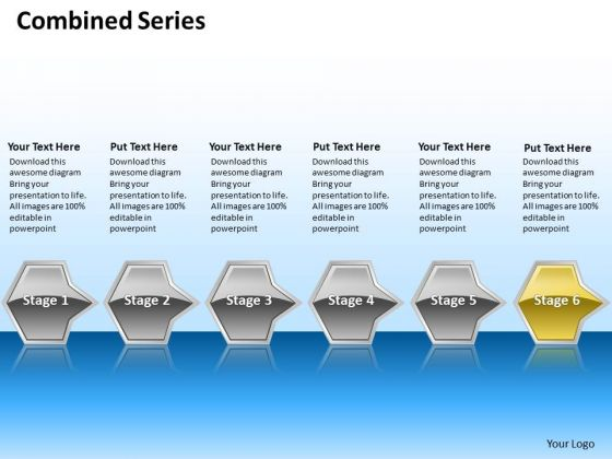 Ppt Sequential Series Of Octadic Arrows Layouts PowerPoint Free 6 Stages Yellow Templates