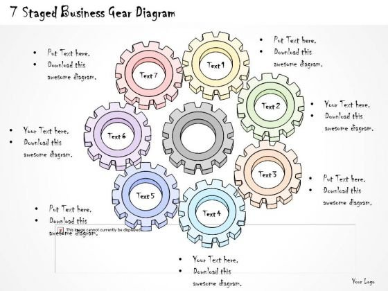 Ppt Slide 1814 Business Diagram 7 Staged Gear PowerPoint Template Sales Plan