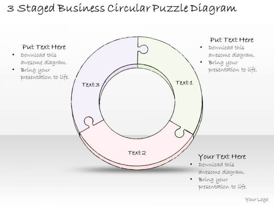 Ppt Slide 3 Staged Business Circular Puzzle Diagram Sales Plan