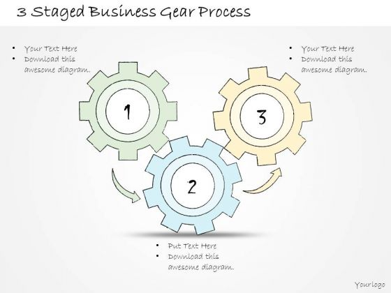 Ppt Slide 3 Staged Business Gear Process Sales Plan