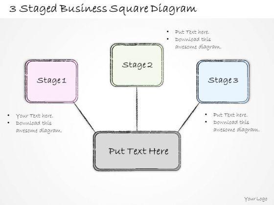 Ppt Slide 3 Staged Business Square Diagram Sales Plan