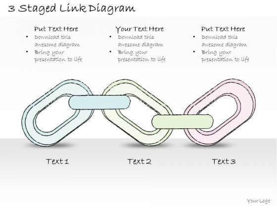 Ppt Slide 3 Staged Link Diagram Business Plan