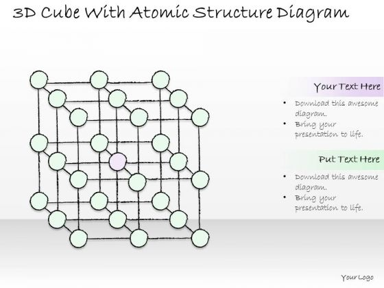 Ppt Slide 3d Cube With Atomic Structure Diagram Business Plan
