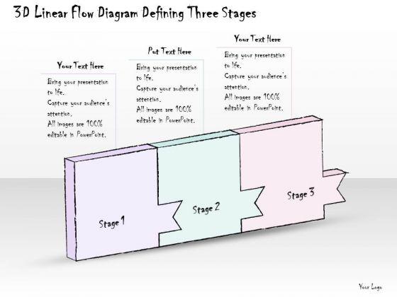 Ppt Slide 3d Linear Flow Diagram Defining Three Stages Marketing Plan