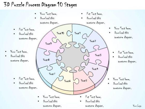 Ppt Slide 3d Puzzle Process Diagram 10 Stages Business Diagrams