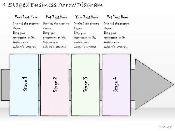 Ppt Slide 4 Staged Business Arrow Diagram Plan