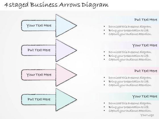 Ppt Slide 4 Staged Business Arrows Diagram Plan