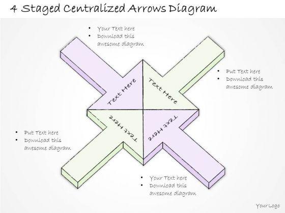 Ppt Slide 4 Staged Centralized Arrows Diagram Marketing Plan