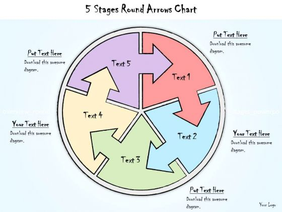 Ppt Slide 5 Stages Round Arrows Chart Business Diagrams