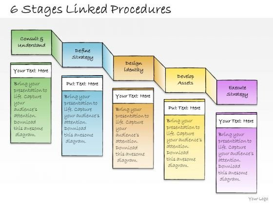 Ppt Slide 6 Stages Linked Procedures Business Diagrams