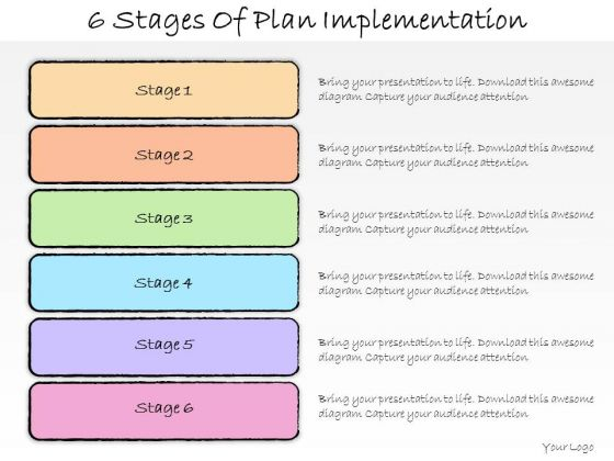 Ppt Slide 6 Stages Of Plan Implementation Business Diagrams