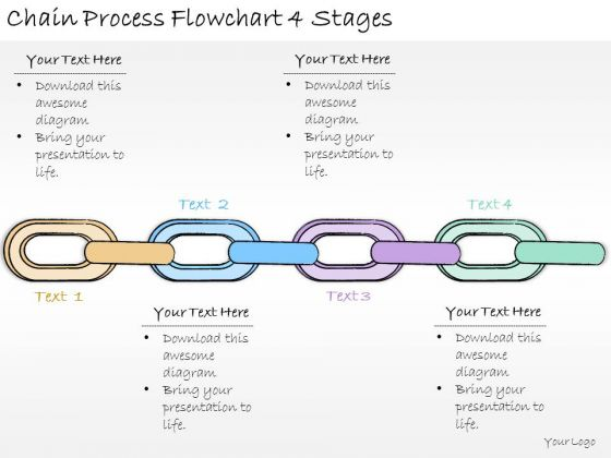 Ppt Slide Chain Process Flowchart 4 Stages Business Plan