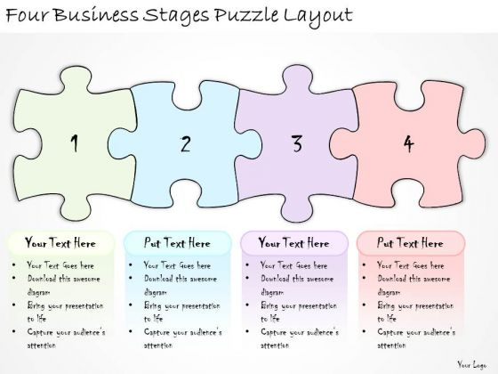 Ppt Slide Four Business Stages Puzzle Layout Strategic Planning