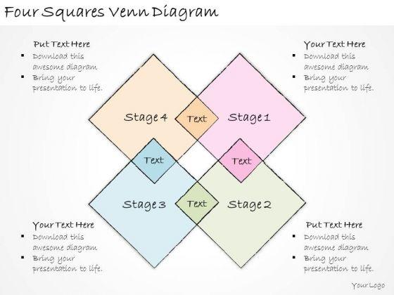 Ppt Slide Four Squares Venn Diagram Business Plan