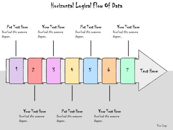 Ppt Slide Horizontal Logical Flow Of Data Strategic Planning
