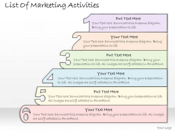 Ppt Slide List Of Marketing Activities Business Plan