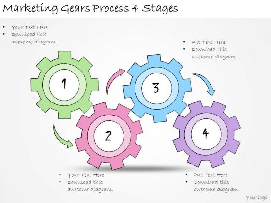 Ppt Slide Marketing Gears Process 4 Stages Consulting Firms