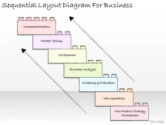 Ppt Slide Sequential Layout Diagram For Business Strategic Planning